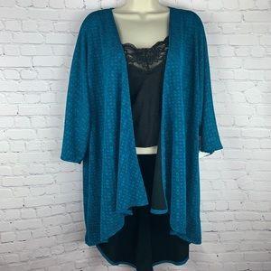 👘Aqua Textured Lace Kimono open front long cut